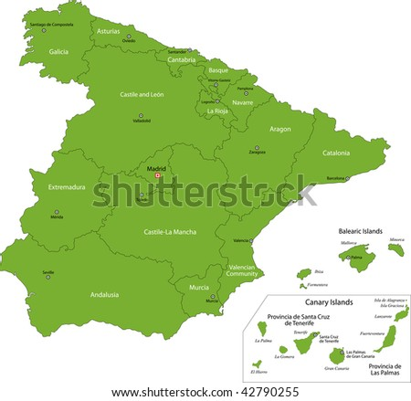 Green Spain map with regions - stock photo