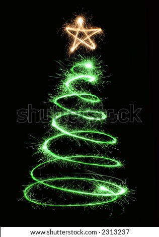 green sparkler christmas tree spiral - stock photo