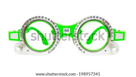 Green Spectacles used for eyesight tests isolated on white background - stock photo