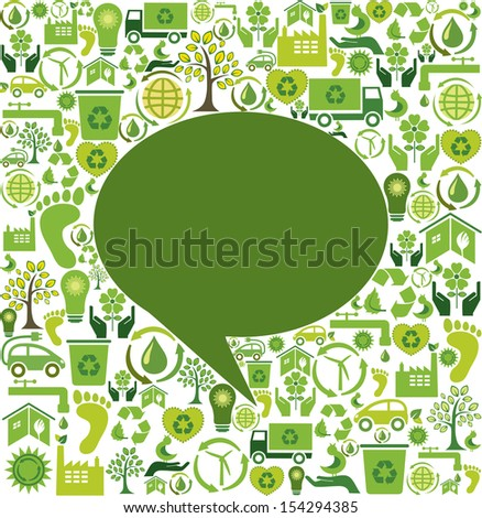 Green speech bubble and eco icons  - stock photo