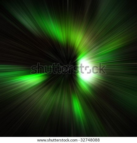 Green speed light abstract art - stock photo