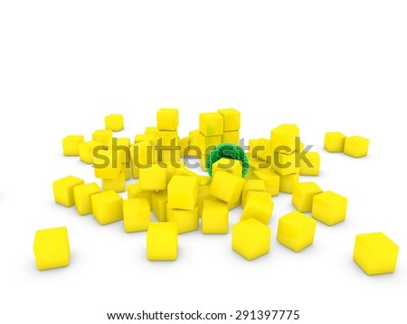 green sphere on cubes - stock photo