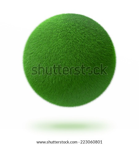 Green sphere or ball covered with grass isolated on white levitating above the white surface with a shadow