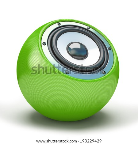 Green sphere speaker 3D - stock photo