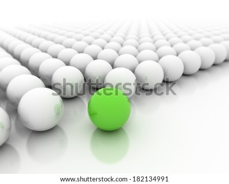 Green spheres standing out from the crowd  - stock photo