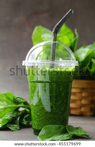green spinach drink smoothies  - healthy food  - stock photo