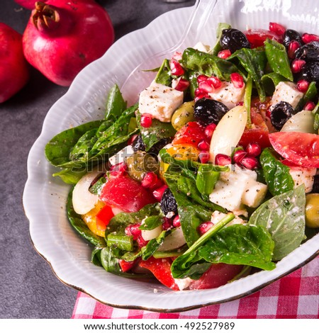 Green Spinach Salad with feta and olives