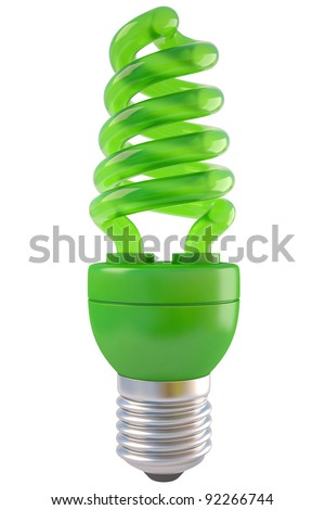 green spiral light bulb. isolated on white. - stock photo
