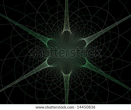 Green spiral star on black background - stock photo