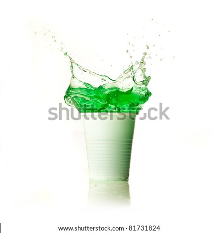 green splash - stock photo