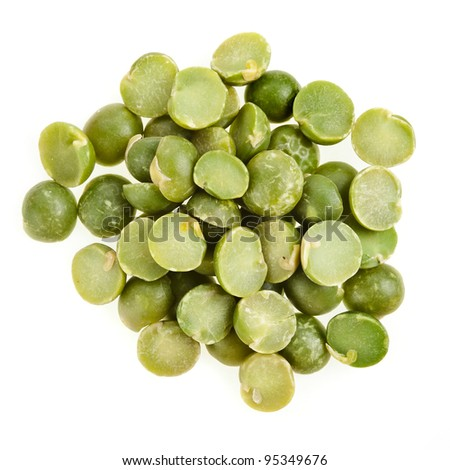 Green split peas isolated on white background - stock photo