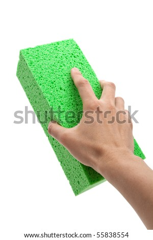 Green Sponge with white background - stock photo