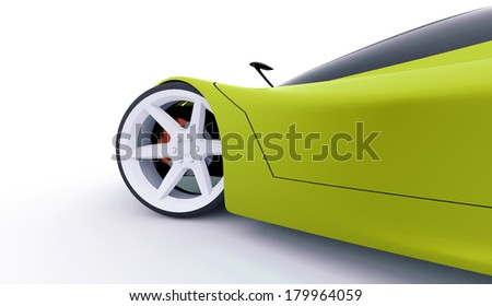 Green sport car concept rendered - stock photo