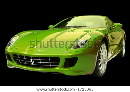 Green sports car - stock photo