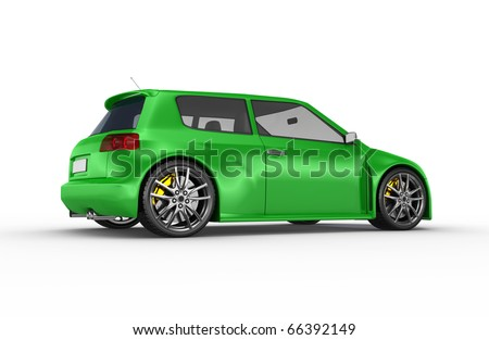 Green sports car. No trademark issues as the car is my own design.This is a detailed 3D render. - stock photo
