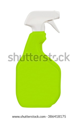 Green Spray Bottle Isolated on White