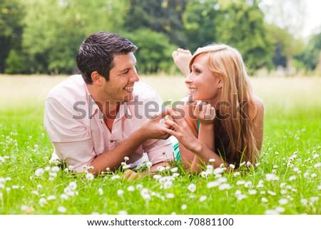 green spring autumn couple - stock photo