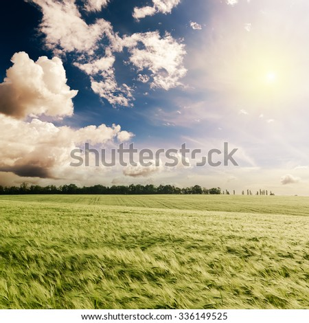 green spring field and sunset in dramatic sky - stock photo