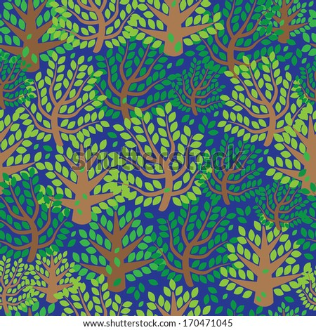 green spring forest seamless pattern