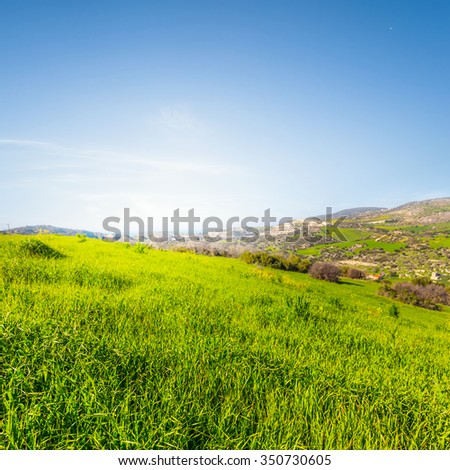green spring hills scene - stock photo