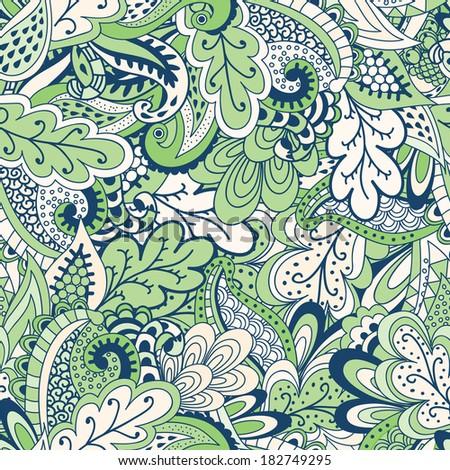 Green Spring vegetation background. Raster illustration - stock photo