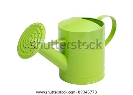 green sprinkler isolated on white - stock photo