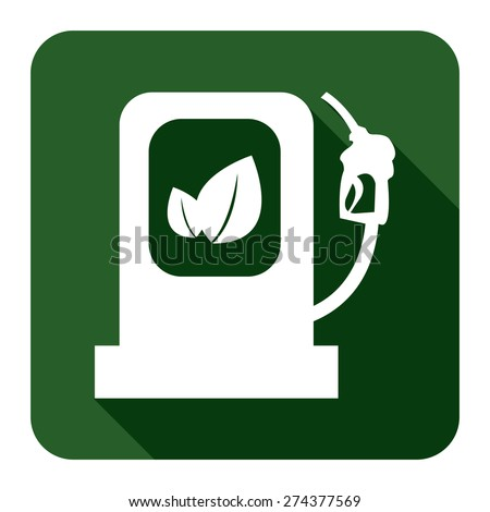 Green Square Biodiesel or Biofuel Filling Stations Sign Flat Long Shadow Style Icon, Label, Sticker, Sign or Banner Isolated on White Background - stock photo