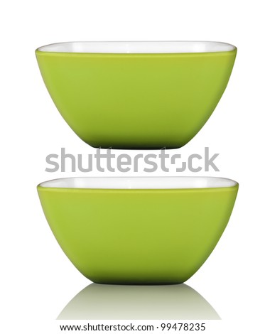 Green square bowl or cup isolated on white with clipping path included - stock photo