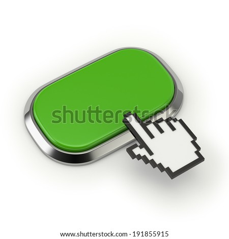 Green square button with steel border on white background