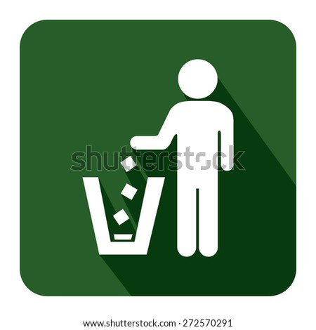 Green Square Dustbin, Litter Bin or Trash Can Long Shadow Style Icon, Label, Sticker, Sign or Banner Isolated on White Background - stock photo