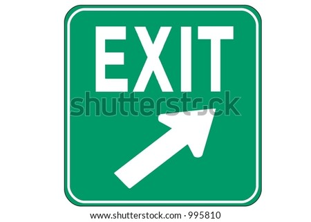Green Square Exit Right sign isolated on a white background. - stock photo