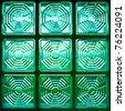 Green square glass block background - stock photo