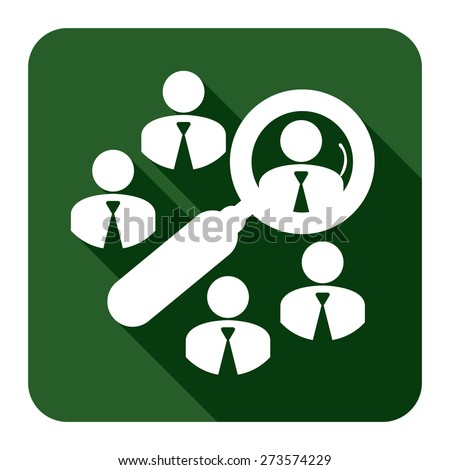 Green Square Group of Businessman With Magnifying Glass Long Shadow Style Icon, Label, Sticker, Sign or Banner Isolated on White Background - stock photo