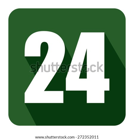 Green Square 24, 24HR, 24HRS, 24 Hours Service, 24 Hours Open Long Shadow Style Icon, Label, Sticker, Sign or Banner Isolated on White Background - stock photo