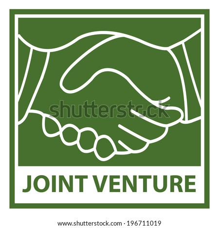 Green Square Joint Venture Icon, Sticker or Label Isolated on White Background - stock photo