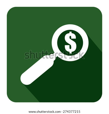 Green Square Magnifying Glass With Dollar Sign Flat Long Shadow Style Icon, Label, Sticker, Sign or Banner Isolated on White Background - stock photo