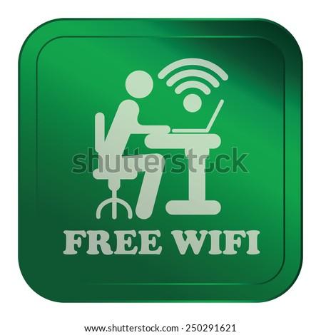 Green Square Metallic Style Free Wifi Sticker, Label, Button or Icon Isolated on White Background  - stock photo