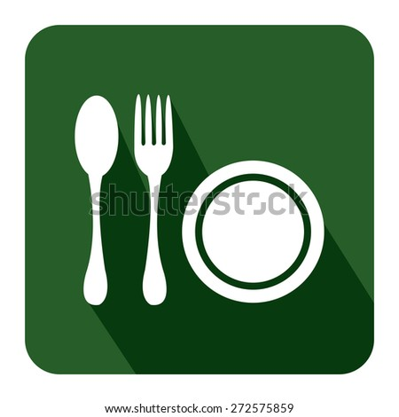 Green Square Restaurant, Bistro, Cafeteria or Food Center Long Shadow Style Icon, Label, Sticker, Sign or Banner Isolated on White Background - stock photo