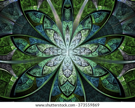 Green stained glass fractal flower, digital artwork for creative graphic design