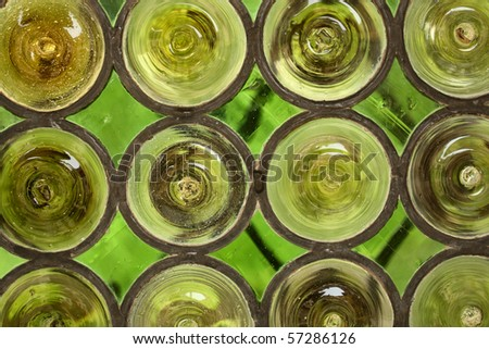 Green stained-glass window - stock photo