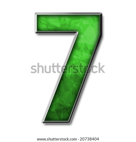 Green stained glass with silver number 7 - stock photo