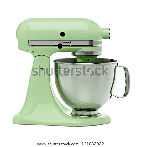 Green stand mixer with clipping path - stock photo