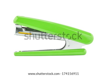 Green stapler isolated on white background - stock photo
