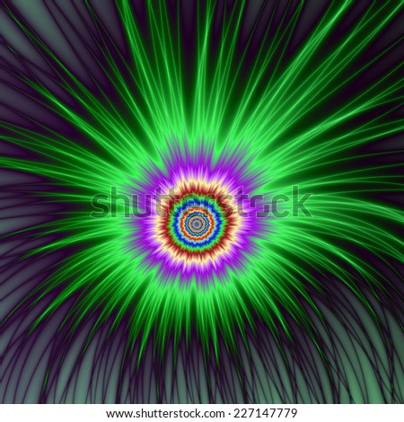 Green Star Burst / An abstract fractal image with a explosive firework design in green, violet and blue. - stock photo