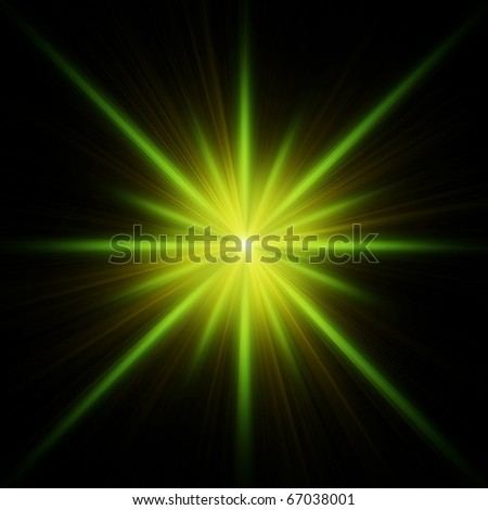 Green star flash with spikes on black background - stock photo