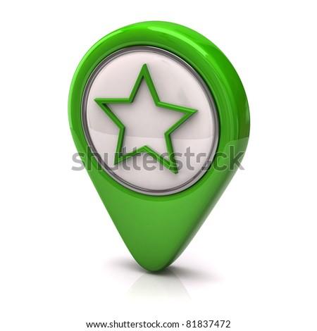Green Star icon - stock photo