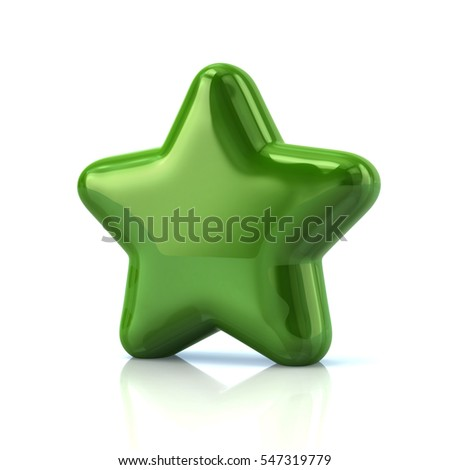 Green star icon 3d rendering on white background