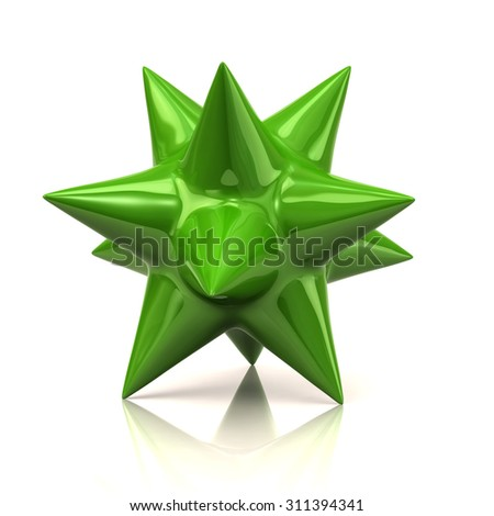 Green star isolated on white background - stock photo