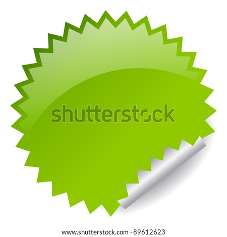 Green star sticker, place your business text - stock photo