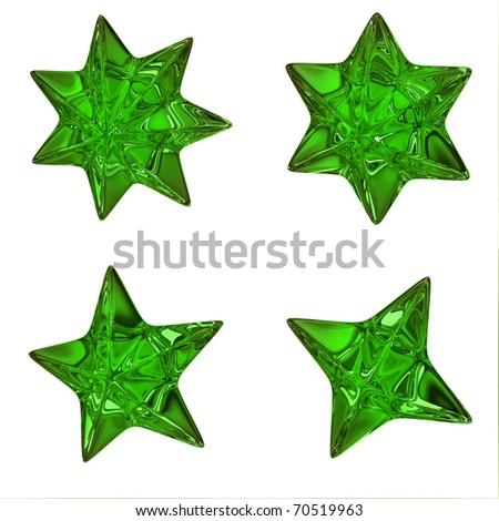Green stars - stock photo
